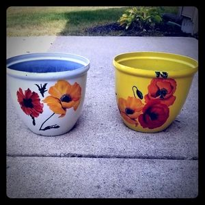 Two (2) floral transfer plastic pots
